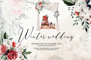 Winter Wedding - Floral Clipart