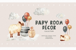 Kids Clipart - Watercolor Baby Sheep