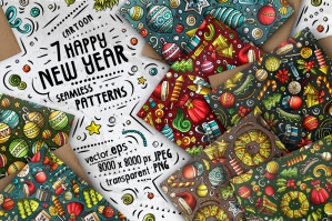 Happy New Year Cartoon Doodle Seamless Patterns