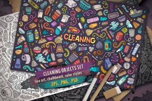 Cleaning Doodle Objects & Elements Set