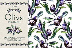 Olive Branch Watercolor Clipart & Seamless Patterns