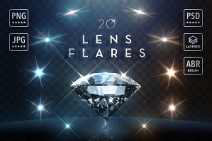 20 Layered Lens Flare Reflections