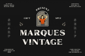Marques Vintage Font Family + Extras
