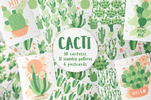 Cacti, Patterns and Illustrations