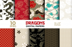 Chinese Dragon Digital Papers - Seamless Patterns