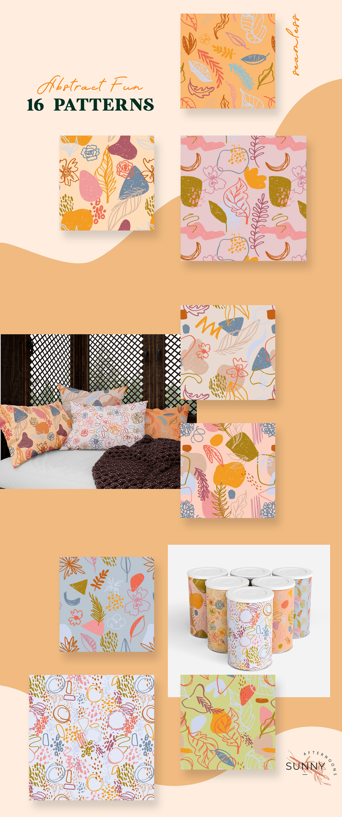 Abstract Fun Seamless Patterns Vector Collection