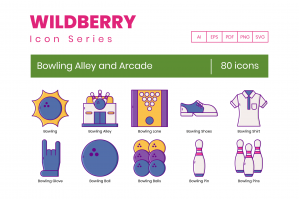 80 Bowling Alley and Arcade Icons - Wildberry Series