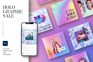 Holographic Sale Social Media Templates