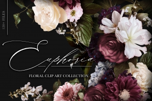 Euphoria Floral Clip Art & Pattern Collection