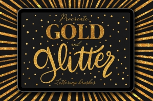 Gold and Glitter Lettering Brushes for Procreate