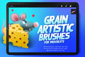 Grain Procreate Brushes and Halftone Textures