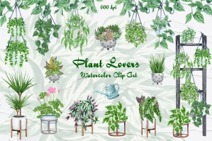 House Plants Watercolor Collection