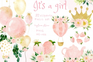 It's A Girl Watercolor Clipart