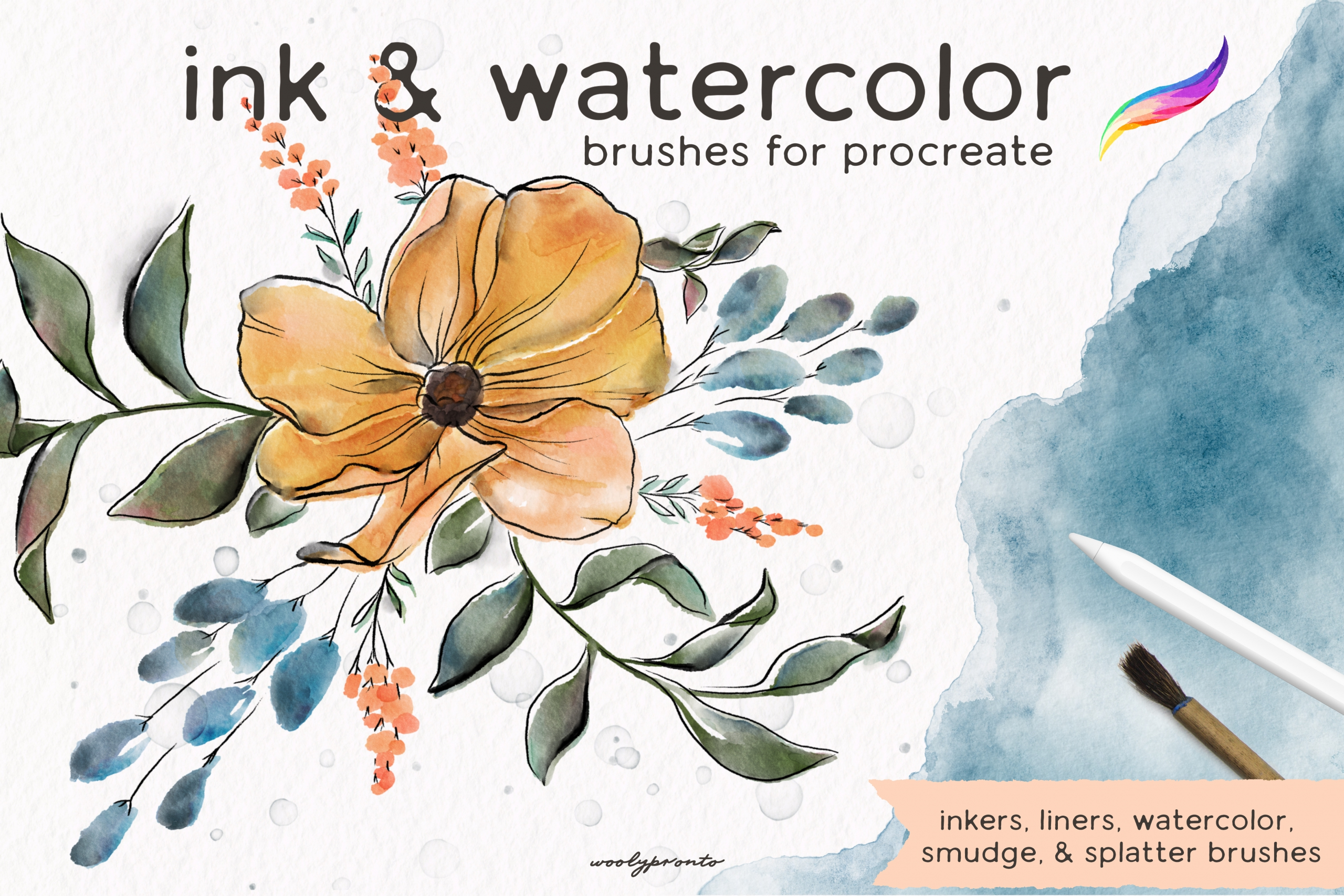 Ink & Watercolor Brushes for Procreate