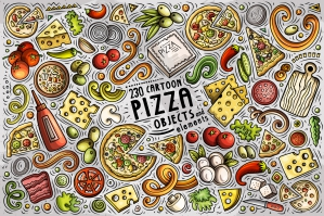 Pizza Cartoon Objects and Symbols Collection