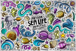 Sea Life Cartoon Objects and Symbols Collection