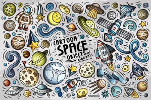 Outer Space Cartoon Objects and Symbols Collection