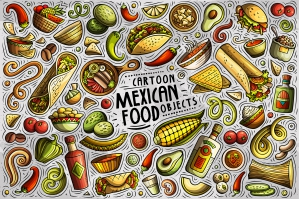 Mexican Food Cartoon Objects and Symbols Collection