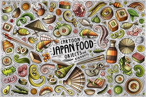 Japan Food Cartoon Objects and Symbols Collection