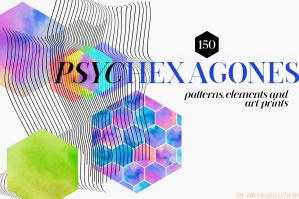 Psychedelic Hexagons Patterns & Art Prints
