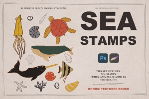 Sea Stamps for Procreate and Photoshop