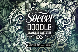 Football Graphics Doodle Seamless Patterns