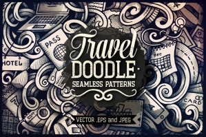 Travel Planning Graphics Doodle Seamless Patterns