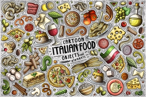 Italian Food Cartoon Objects and Symbols Collection