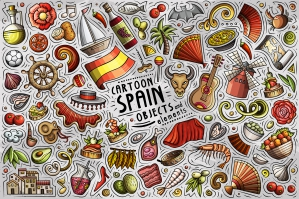 Spain Cartoon Objects and Symbols Collection