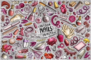 Nail Salon Cartoon Objects and Symbols Collection