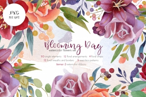 Blooming Day Watercolor Flowers Set