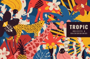 Retro Tropical Objects & Backgrounds in Riso Style