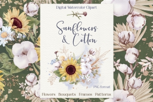 Watercolor Sunflowers and Cotton Set