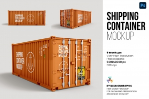 Shipping Container Mockup - 5 Views