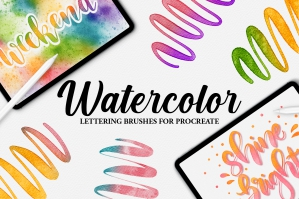 Realistic Watercolor Lettering Brushes for Procreate