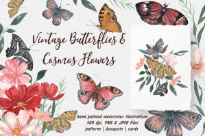 Vintage Butterflies and Cosmos Flowers