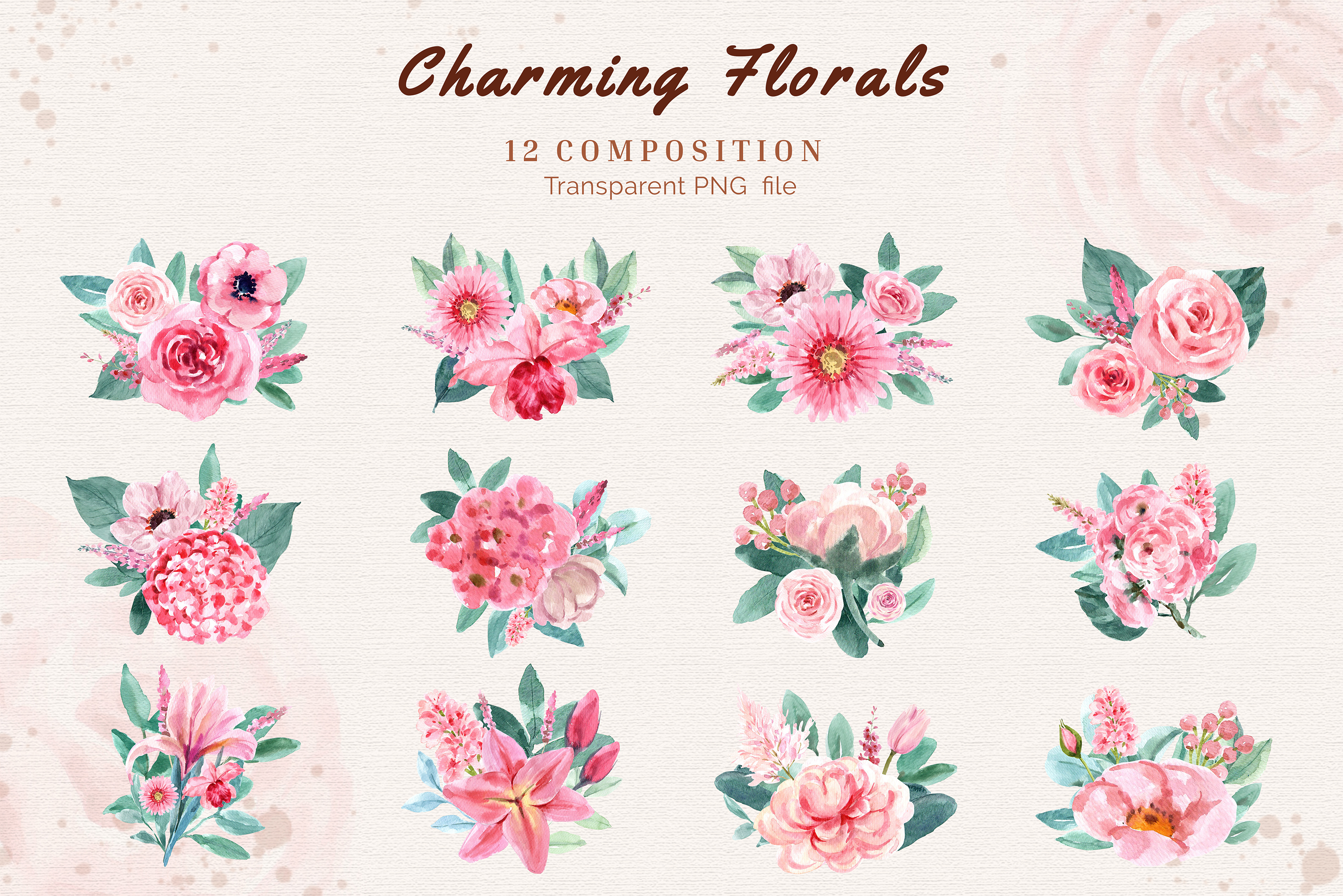 Charming Flowers of Wedding Watercolor