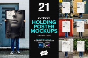 21 Outdoor Holding Poster Mockups