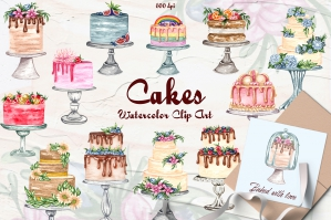 Cake Watercolor Collection