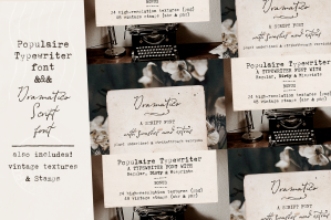 Populaire Typewriter and Dramatico Script Font Pack