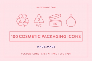 Cosmetic Packaging Line Icons