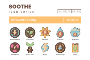 85 Renewable Energy Icons - Soothe Series