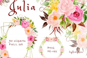Julia - Pink and Yellow Peony Floral Clipart