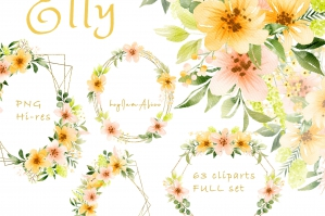 Elly - Yellow Pink Flower Clipart