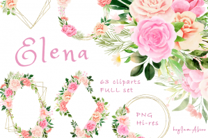 Pink Peony Watercolor Floral Clipart