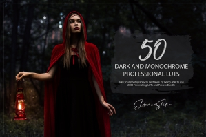 50 Dark and Monochrome Presets and LUTs Pack