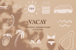 Summer Line Art Icons & Poster