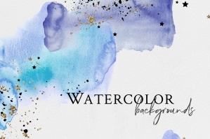 Watercolor Blue Backgrounds with Golden & Black Stars