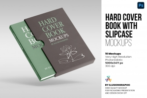 Hard Cover Book with Slipcase Mockup - 10 views