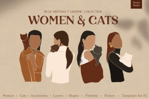 Women & Cats Abstract Collection